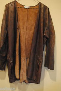 Calvin Klein Vintage Brown Leather Jacket with Diamond shapes Size 10