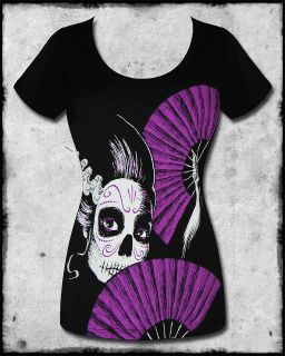 AKUMU INK SUGAR SKULL CANDY BLACK PURPLE FAN EMO GOTH SCOOP NECKTEE T