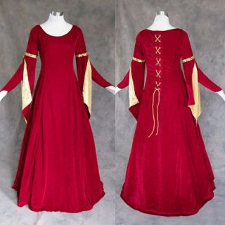 Medieval Renaissance Gown Green Gold Dress Costume LOTR Wedding Wicca