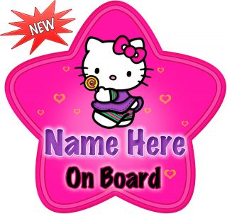 Hello Kitty Lollipop Star Shaped Baby On Board Car Sign ~ New