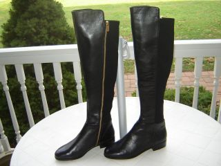 MICHAEL KORS BLACK LEATHER BROMLEY RIDING BOOTS NEW 6