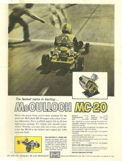 Vintage Beautiful 1960s McCulloch MC 20 Go Kart Ad