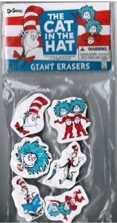 Pack of 6 DR SEUSS Character Shape Erasers Cat in the Hat Thing 1 & 2