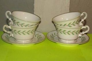 Syracuse China Greenwood Old Ivory 4 Cups 2 Saucers Vintage LOT