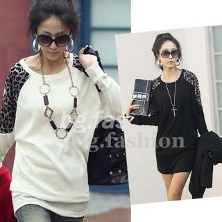 Sexy Womens Leopard Print Tops Long T shirt Batwing Tunic Pullover 3