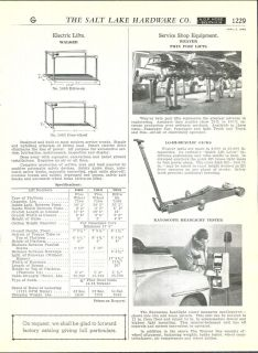 1948 49 AD Weaver Twin Post car auto lifts Hydraulic Jacks Rayoscope