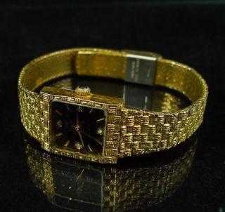 Vintage OLEG CASSINI Wrist Watch LADIES Gold Tone QUARTZ Diamonds