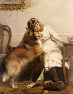 CHARLES BURTON BARBER Sweethearts girl dog PRINT NEW