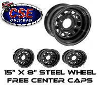 15500.01 Rugged Ridge BLACK Steel Wheels (SET OF 4) 15X8 5x4.5 JEEP
