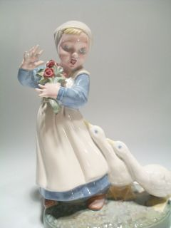 Vintage Holland Mold Figurine Girl with Flowers Geese Nice Antiqued