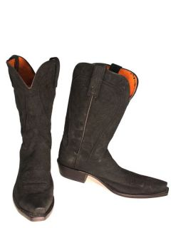 Lucchese 1883 Womens Black Suede Cowboy Boots N9023.S53