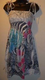 NWT Zebra Print & Roses SUBLIMATION Smocked Rhinestone MINI Dress