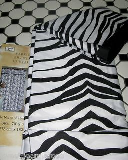 ANIMAL PRINT ZEBRA Fabric Shower Curtain SAFARI BLACK and WHITE