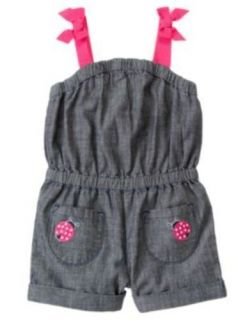 Cape Cod Cutie Romper 12 18m Shorts Blue Chambray Ladybug One Piece