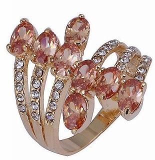 Size 7,8,9,10 Jewelry New Champagne Topaz 10KT Yellow Gold Filled Ring