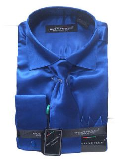 MENS ROYAL BLUE SATIN DRESS SHIRT & TIE COMBO SIZE 16 16½ (34/35) NEW