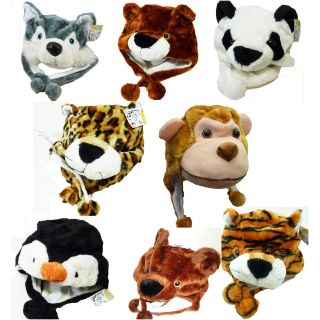 One Size Fits Most Plush Winter Animal Hats  Your Choice NEW