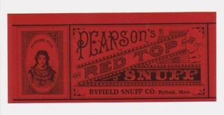 Vintage Pearson Red Top Snuff Chew Tin Can Label *MINT* Must look