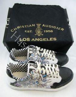 Men Christian Audigier Hardy Black White STACT Shoes 12
