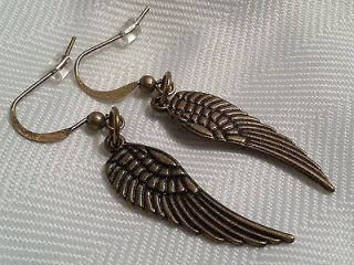 Handmade Angel Wings Golden / Brass Earrings Pair Pendant Bird Pattern