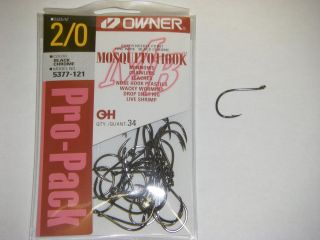 OWNER MOSQUITO HOOK FINE WIRE #5377 121 SZ 2/0 QTY 34 Pro Pack Bass