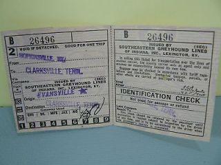 Vintage Nov 8 1945 Greyhound Bus Ticket Clarksville TN