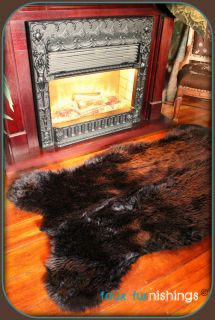 BLACK BEAR SKIN ACCENT THROW RUG 5X7 SHABBY SHEEP DEER MINK SHAG CABIN