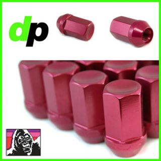 Anodized Red Aluminum Racing Wheel/Lug Nuts, Closed Acorn, Qty 24