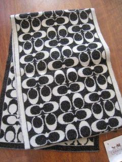 COACH Signature Lurex Muffler Scarf Black White Wool Blend Womens