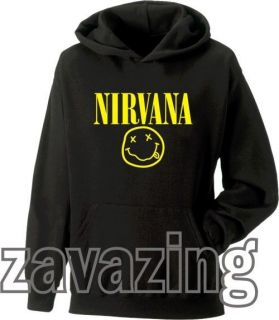 SMILEY FACE UNISEX BLACK HOODIE HOODY RETRO KURT COBAIN MUSIC GRUNGE