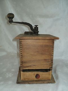 Vintage Old Wooden Dovetail Coffee Grinder Mill   Works