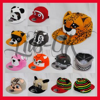 CITY HUNTER CARTOON ANIMAL SNAPBACK FLAT PEAK RED WHITE GREY BASEBALL