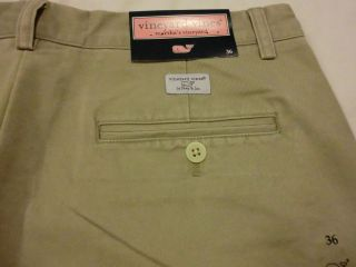 NWT Vineyard Vines Mens Khaki Club Shorts –Pleated + Plain – U