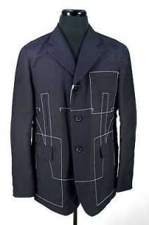 COMME DES GARCONS Navy Blue Cotton Blend Jacket with White Stitching