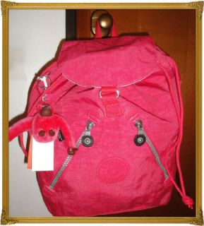 NWT*KIPLING*FUNDAMENTAL GIRLS SCHOOL BAG*BACKPACK*PADDED*IN JAZZY PINK