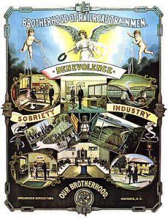 BROTHERHOOD OF RAILROAD TRAINMEN AD 1800s LABOR UNION AMERICANA POSTER