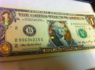 22 K GOLD DOLLAR BILL  GOLD HOLOGRAM COLORIZED USA LEGAL CURRENCY