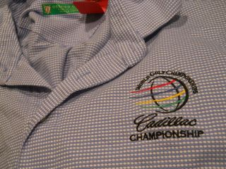 Cadillac Championships blue Oxford golf polo golf shirt mens XL