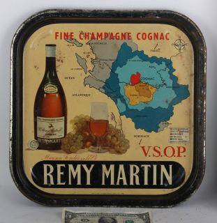 Serving Tray Vintage map Champagne Cognac VSOP France beer antique