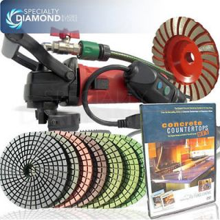Concrete Wet Grinder Polisher Diamond Cup Wheel & Pads