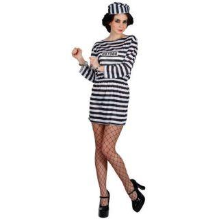 12 Jailbird Cutie Prisoner Convict Inmate Outfit Fancy Dress Costume