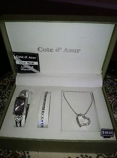 Beautiful Cote d Azur Ladies Watch, bracelet and necklace set. New in