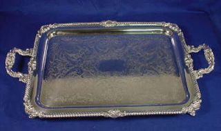 Large/HEAVY Silver Plated On Copper Footed Serving Tray