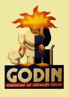 Kitchen Cook Chef Godin Cooking Fire France French Vintage Poster