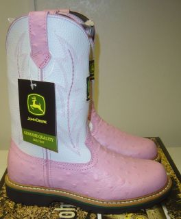 Brand New Ladies John Deere Cowboy Boot W/ Pink Ostrich Print Foot