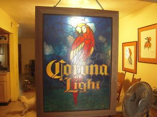 Corona Light Faux Stained Glass Parrot Beer Bar Sign 31.5 height X