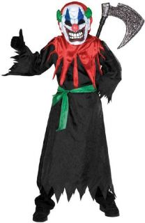 CRAZY CLOWN lights scarey boys kids halloween costume L