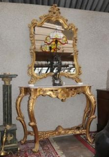 console table mirror set