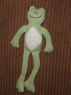 PBK Pottery Barn Kids Green Argyle Sweater Knit Frog Baby Toy Plush