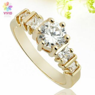 Fashion Jewelry Gift Round Cut Fine Topaz Stone Gold GP Cocktail Gem